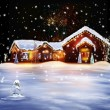 Christmas Decorated House — Stock Photo