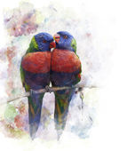 Watercolor Image Of  Parrots — Stock Photo