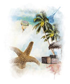 Watercolor Painting Of Vacation Theme — Stockfoto