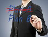 Businessman hand drawing plan a plan b — Stock Photo