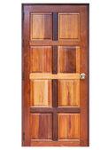 Деревянная дверь, изолированные на белом фоне — Стоковое фото