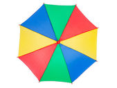Colorful umbrella, isolated on white, top view — Photo