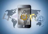 Smart telefon med program — Stockfoto