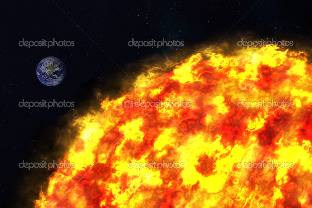 Planet Earth and sun, Elements of this image furnished by NASA. — Stock Photo #13243827