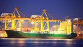 Logistic concept, container cargo ship transport import export i — Foto Stock