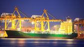 Logistikkonzeptes, container cargo schiff transport import-/export i — Stockfoto