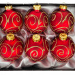 Christmas ball isolated on white background, red color, top view — Stock Photo