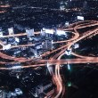 Cityscape night and traffic car lighting, Bangkok bird eye view — 图库照片