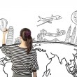 Stock Photo: Asian woman drawing or writing dream travel around the world