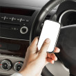 Stock Photo: Car and road safety concept, businessmtext message and drivin