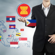 ASEAN Economic Community in businessman hand — Stock Photo