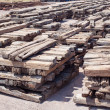 Stack of chock wood for train, construction site — Stock Photo