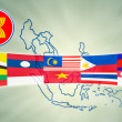 ASEAN Economic Community in businessman hand - 图库照片