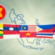 ASEAN Economic Community in businessman hand - Stockfoto