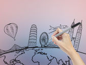 Hand drawing the dream travel around the world — Stock Photo