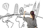 Asian woman drawing or writing dream travel around the world — Stok fotoğraf