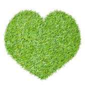 Heart from the green grass, isolated on white — Stock Photo