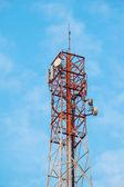 Telecommunication tower with antennas — Stock Photo