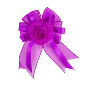 Festive violet bow made of ribbon isolated on white — Stock Photo