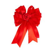 Festive red bow made of ribbon isolated on white — Stock Photo
