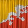 Stock Photo: Bhutflag on curtain