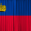 Stock Photo: Liechtenstein flag on curtain