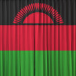 Malawi flag on curtain — Stock fotografie