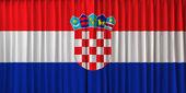 флаг хорватии на занавес — Стоковое фото