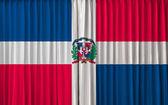 Flaga dominikany na zasłony — Zdjęcie stockowe