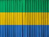 Gabon flag on curtain — Stock Photo