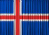 Iceland flag on curtain — Stock Photo
