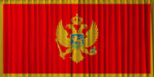 Montenegro flag on curtain — Stock Photo