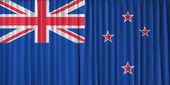 Bandeira da nova zelândia na cortina — Fotografia Stock