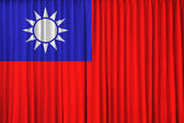 Republic of China flag on curtain — Stock Photo