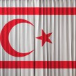 Stock Photo: Turkish Republic of Northern Cyprus flag on curtain