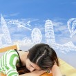 Asian woman dreaming about travel and holiday — Stock Photo