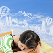 Asian woman dreaming about travel and holiday — Stock Photo #32873543