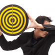 Stock Photo: Businessman holding target