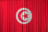 Tunisia flag on curtain — Stock Photo