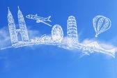 Reizen de wereld en cloud — Stockfoto