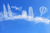 Viaggiare il mondo e la nuvola — Foto Stock
