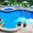 Swimming pool panorama in Thailand — Stock Photo