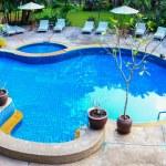 Swimming pool panorama in Thailand — Stock Photo