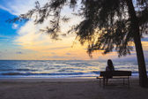 Woman sit on chairs under tree on beach at sunset — Stock Photo
