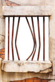 Jail window on brick wall, white background — Stok fotoğraf