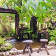 Small pond and garden — Stock Photo