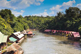 Floating house in River Kwai in Thailand — Stock Photo