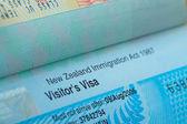 Passaporte visto de carimbo para fundo de conceito de viagem, Nova Zelândia — Fotografia Stock