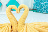 Towel folded in swan heart shape — ストック写真
