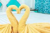 Towel folded in swan heart shape — Foto Stock